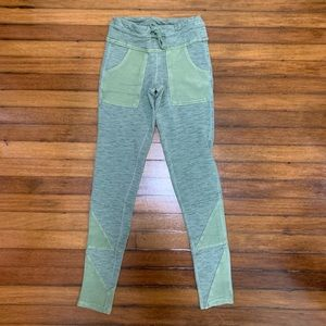 Free People Movement Distressed Green Sweatpants